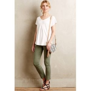Anthro Pilcro Olive Green Cropped Ankle Jeans